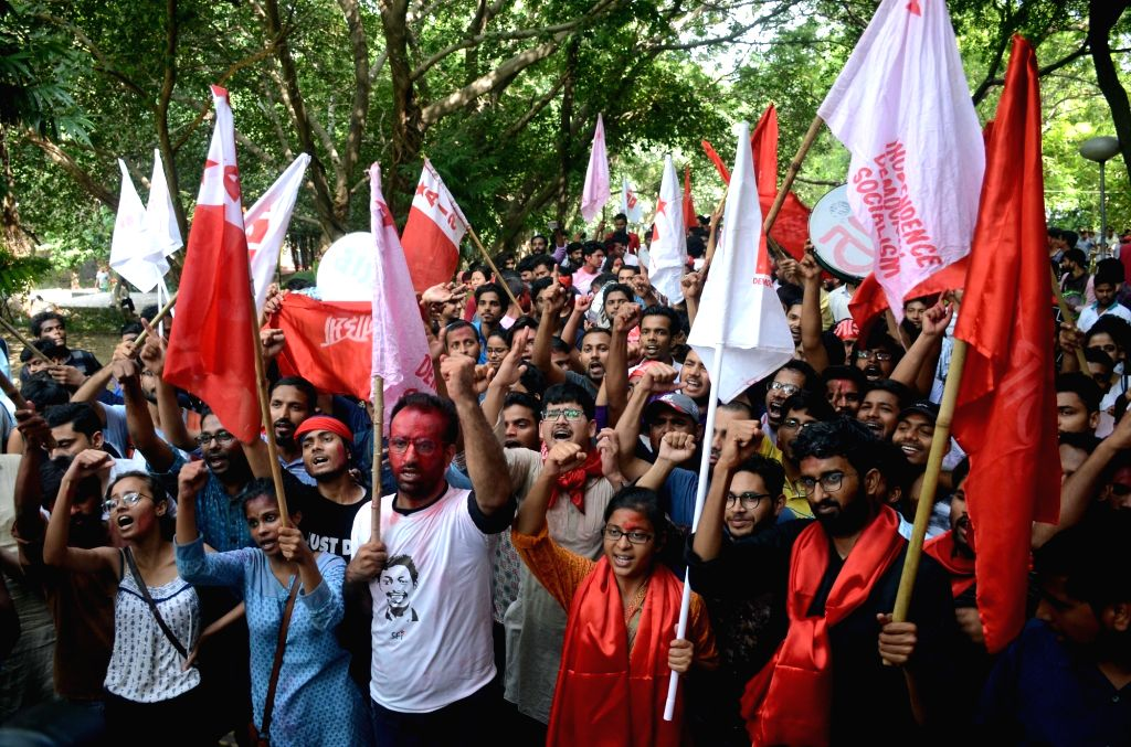 : New Delhi: United Left supporters take out a victory march as they celebrate after the alliance won all the four top posts in the Jawaharlal Nehru University Students Union (JNUSU), leaving the ...