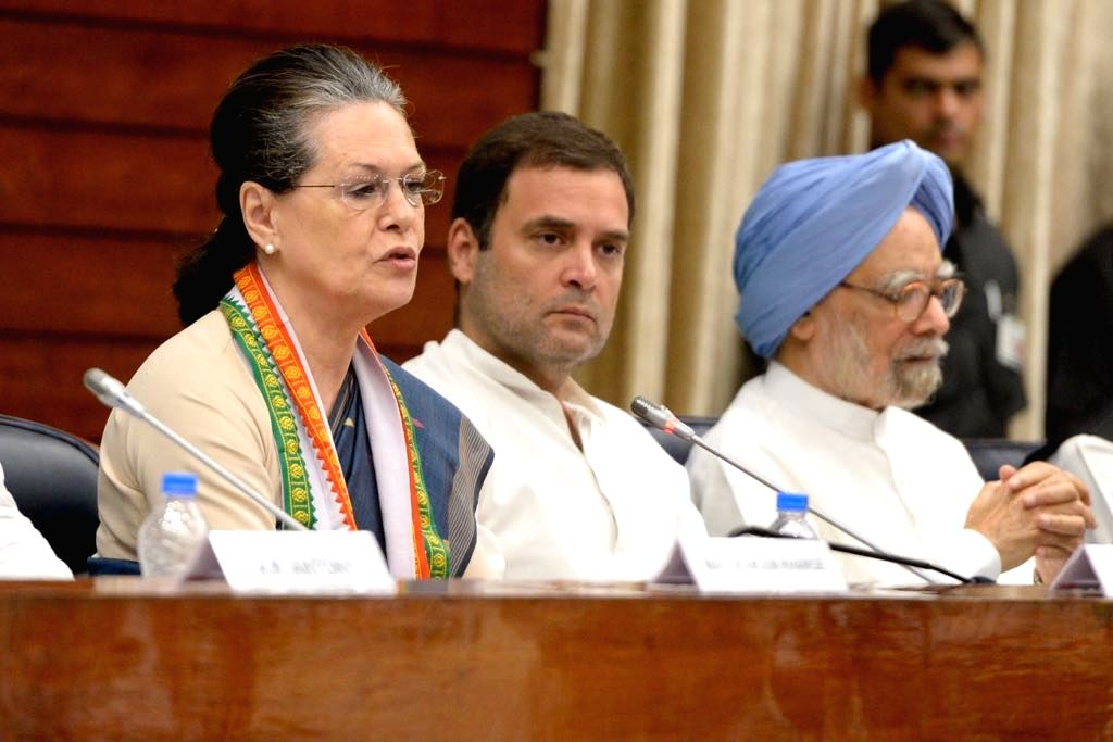 : New Delhi: UPA Chairperson and Congress leader Sonia Gandhi, Congress President Rahul Gandhi and party leader Manmohan Singh at the Congress Working Committee (CWC) meeting, in New Delhi, on July ...