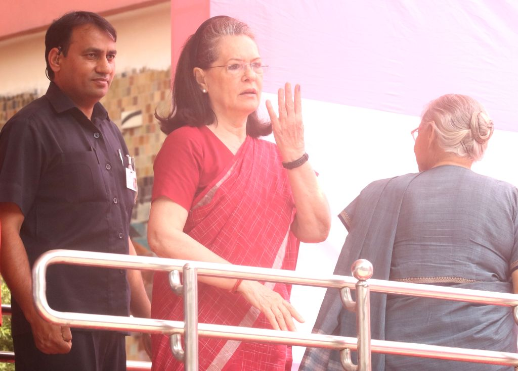 New Delhi: UPA chairperson Sonia Gandhi shows her forefinger marked with indelible ink after casting vote during the sixth phase of 2019 Lok Sabha elections at Nirman Bhavan polling booth in New Delhi on May 12, 2019. (Photo: Bidesh Manna/IANS) - Sonia Gandhi