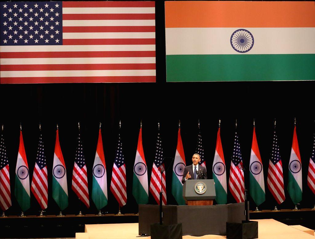 US President Barack Obama addresses an audience at the Siri Fort Auditorium in New Delhi on Jan. 27, 2015.