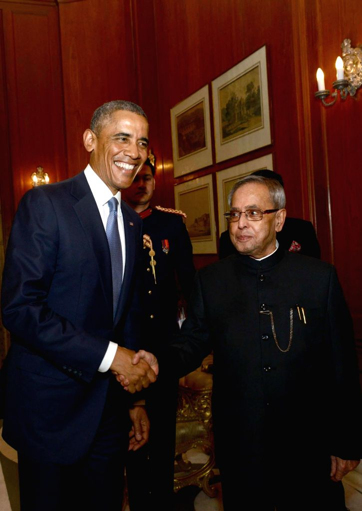 US President Barack Obama calls on President Pranab Mukherjee at Rashtrapati Bhawan in New Delhi, on Jan 25, 2015. - Pranab Mukherjee