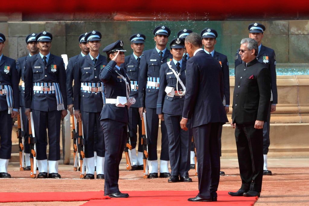 US President Barack Obama inspects the Guard of Honour at the Rashtrapati Bhawan in New Delhi, on Jan 25, 2015. Wing Commander Puja Thakur walked Obama for the inspection of the ...