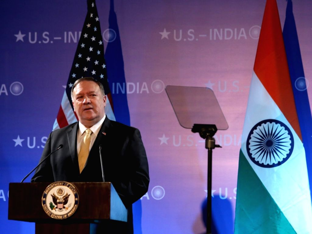 New Delhi: US Secretary of State Mike Pompeo addresses at the Embassy of the United States of America in New Delhi on June 26, 2019. (Photo: Amlan Paliwal/IANS)