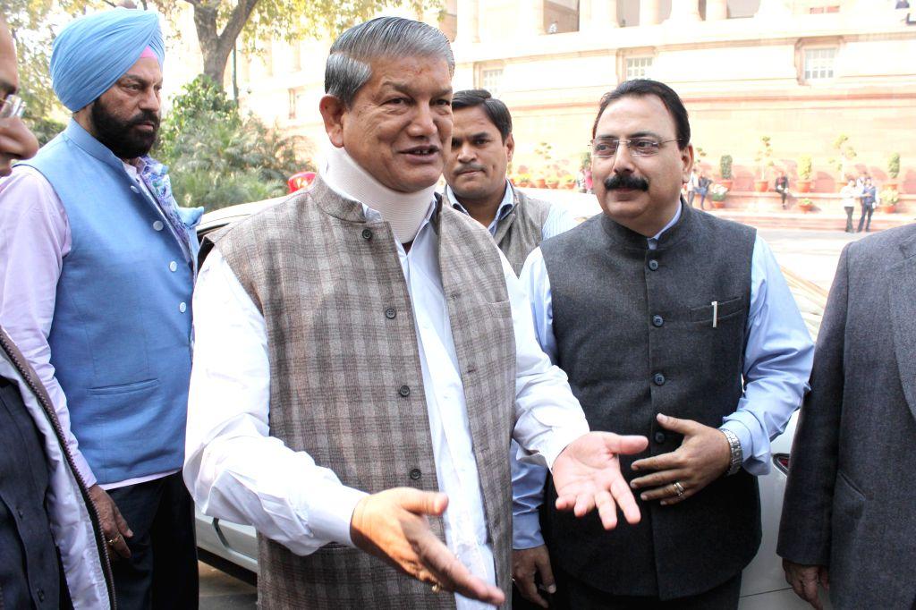 Uttarakhand Chief Minister Harish Rawat at the Parliament House in New Delhi, on Dec 9, 2014. - Harish Rawat