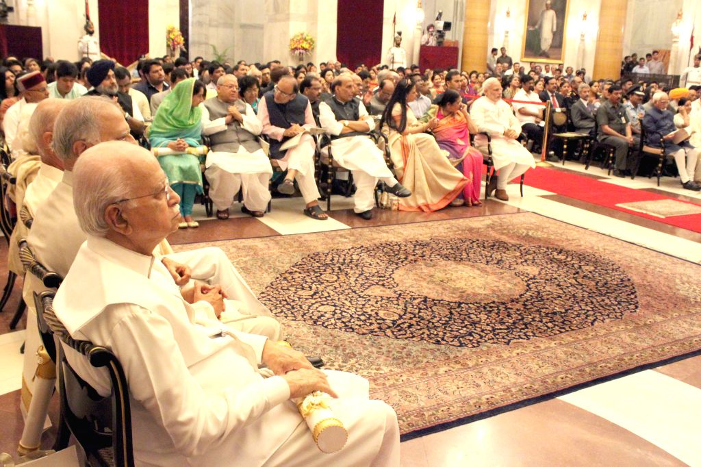 Veteran politician and parliamentarian L K Advani during a Civil Investiture Ceremony where he was conferred the Padma Vibhushan Award  by President Pranab Mukherjee in New Delhi on March ... - Narendra Modi, L K Advani, Pranab Mukherjee, Rajnath Singh and Arun Jaitley
