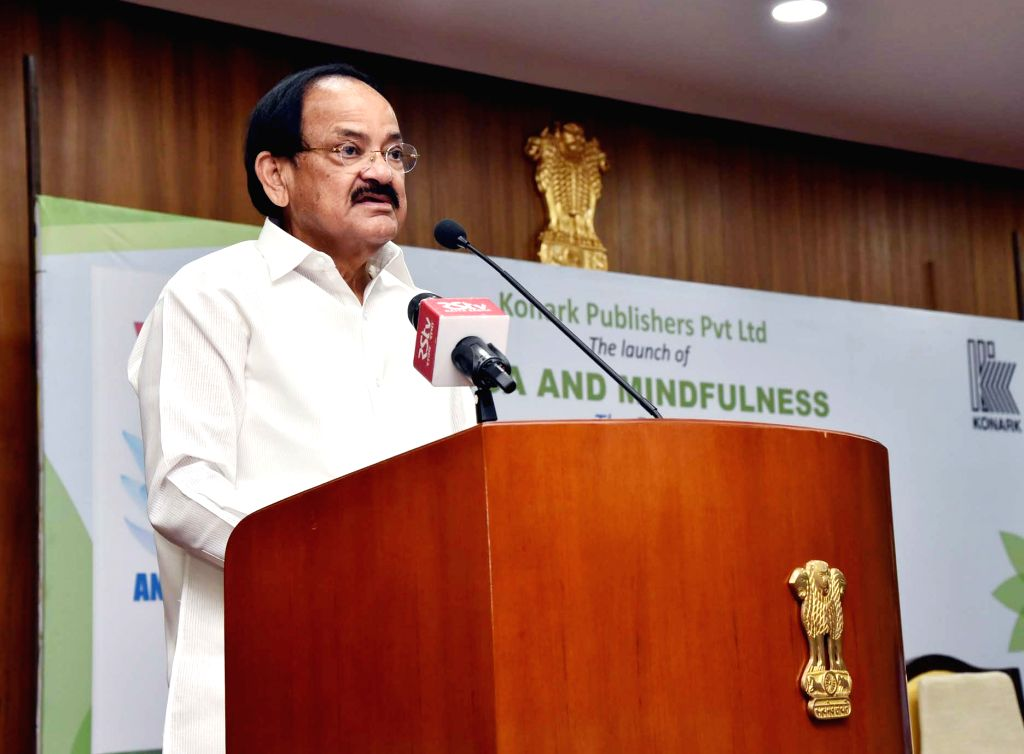 : New Delhi: Vice President M Venkaiah Naidu addresses at after releasing the Book 'Yoga and Mindfulness' authored by well known Yoga exponent, Mansi Gulati, in New Delhi on Oct 29, 2018. ...