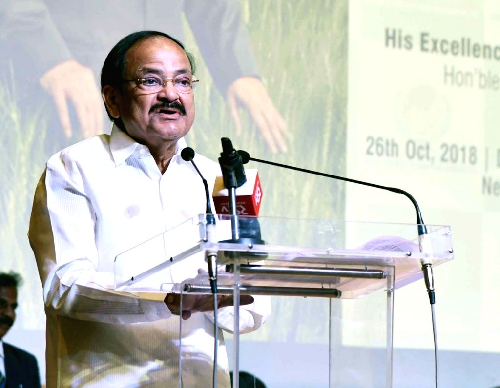 : New Delhi: Vice President M. Venkaiah Naidu addresses at the 1st World Agriculture Prize programme in New Delhi, on Oct 26, 2018. (Photo: IANS/PIB).