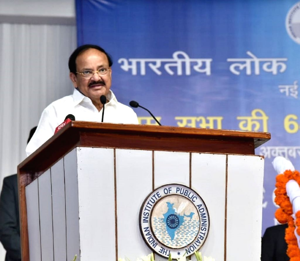 :New Delhi: Vice President M Venkaiah Naidu addresses at the 64th Annual General Body Meeting of the Indian Institute of Public Administration, in New Delhi on Oct 26, 2018. (Photo: IANS/PIB).