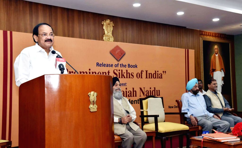 :New Delhi: Vice President M. Venkaiah Naidu addresses at the launch of Prabhleen Singh's book 'Prominent Sikhs of India', in New Delhi on Oct 29, 2018. (Photo: IANS/PIB).