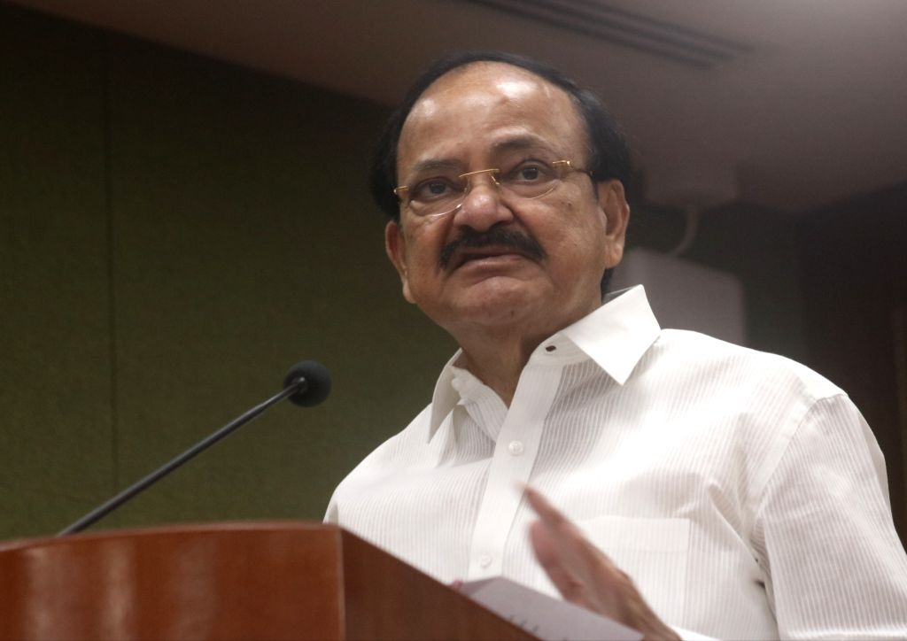 :New Delhi: Vice President M. Venkaiah Naidu addresses at the launch of a coffee table book and Economic impact report on Indira Gandhi International Airport in New Delhi, on Oct 30, 2018. (Photo: ...