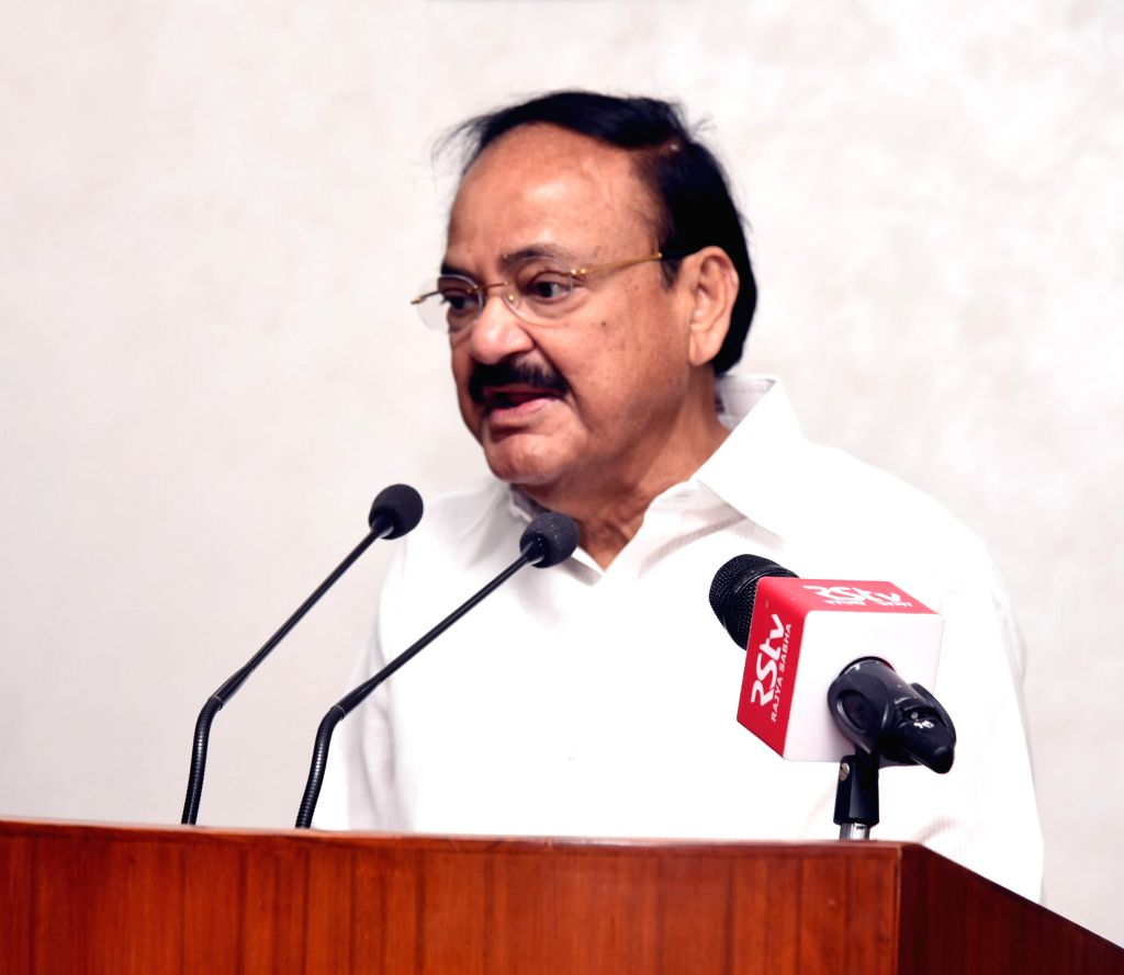 New Delhi: Vice President M. Venkaiah Naidu addresses the children from Nanhi Duniya organisation who have participated in the Brave Kids Festival 2019 held in Poland recently; in New Delhi on July 12, 2019. (Photo: IANS/PIB) - M. Venkaiah Naidu