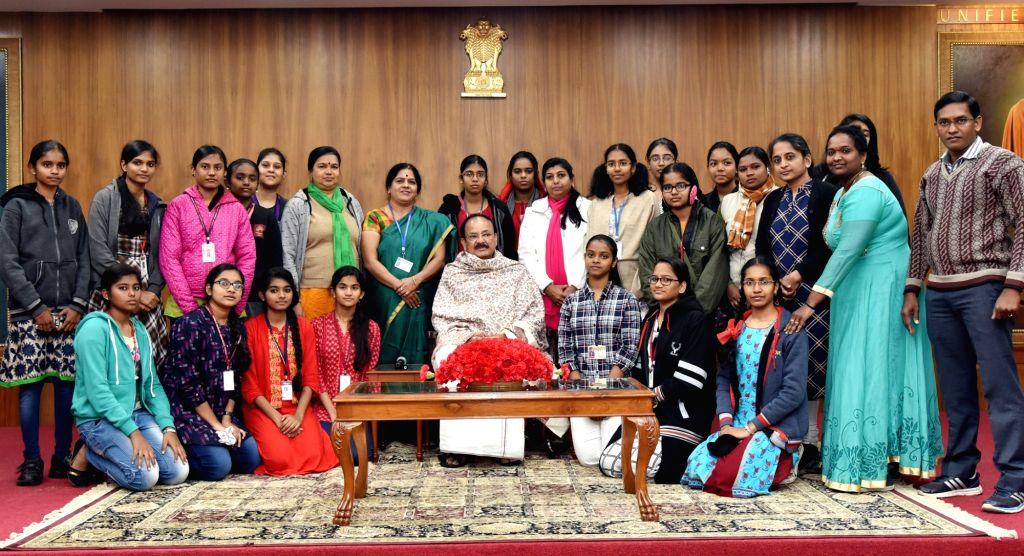 New Delhi: Vice President M. Venkaiah Naidu with students from Kendriya Vidyalaya and other schools of Tamil Nadu; in New Delhi, on Jan 30, 2019. - M. Venkaiah Naidu