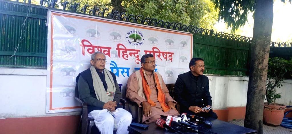 New Delhi: Vishwa Hindu Parishad (VHP) Secretary General Milind Shrikant Parinde addresses a press conference, in New Delhi on Jan 24, 2020. (Photo: IANS)