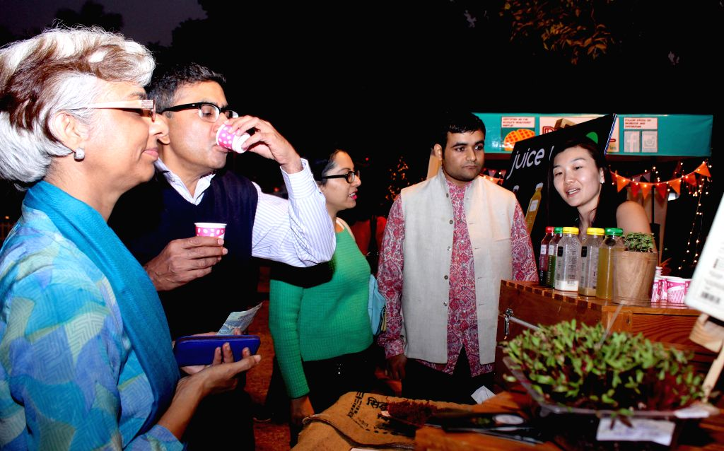 Visitors at Food Fest organised at Nehru Park of New Delhi on Nov 28, 2014.