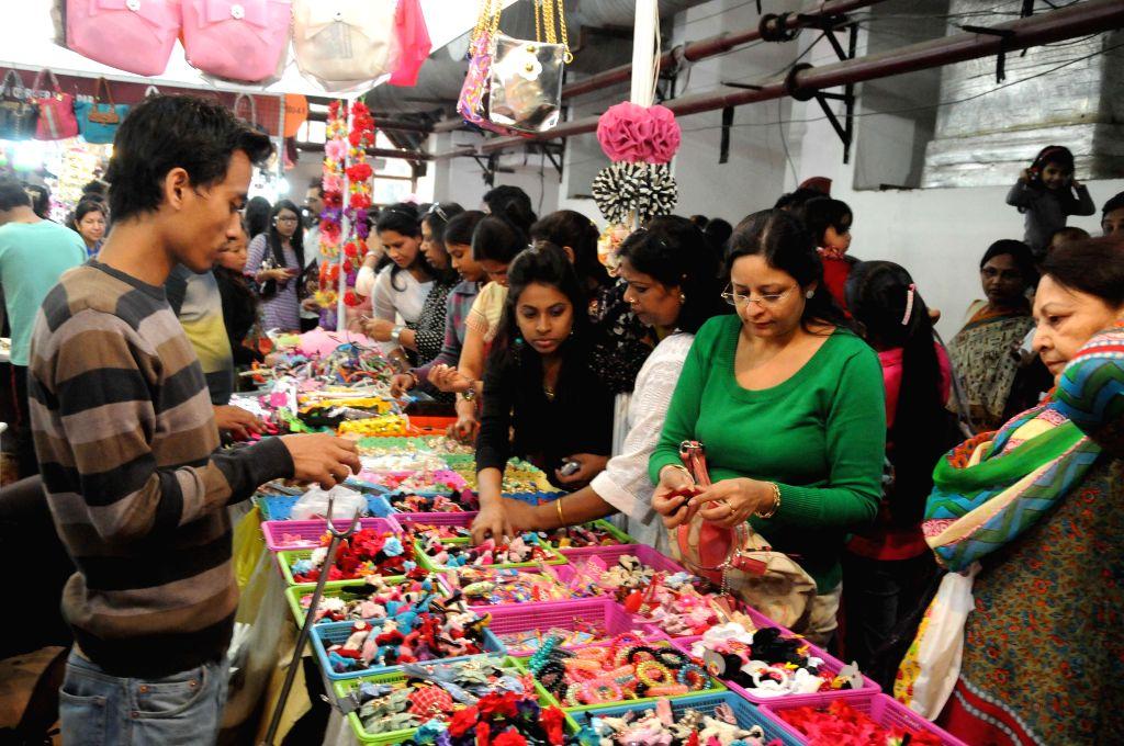Visitors at the 34th India International Trade Fair (IITF) 2014 at Pragati Maidan in New Delhi, on Nov 16, 2014.
