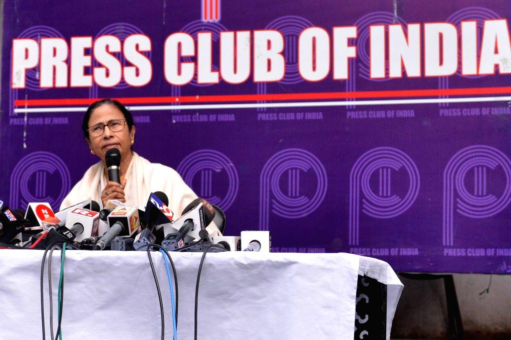 New Delhi: West Bengal Chief Minister Mamata Banerjee addresses a press conference in New Delhi on Feb 14, 2019. (Photo: IANS) - Mamata Banerjee
