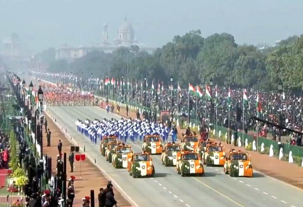 New Delhi: Winners of the Pradhan Mantri Rashtriya Baal Puraskar during the 71st Republic Day parade, in New Delhi on Jan 26, 2020. (Photo: IANS/PIB)
