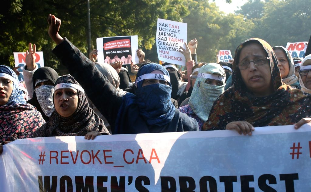 New Delhi: Women stage a demonstration against the Citizenship Amendment Act (CAA) 2019 and National Register of Citizens (NRC), in New Delhi on Jan 11, 2020. (Photo: IANS)