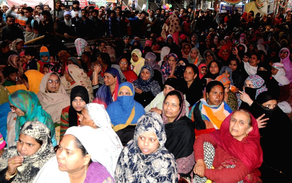 New Delhi: Women stage a sit-in demonstration against the Citizenship Amendment Act (CAA) 2019, National Register of Citizens (NRC) and National Population Register (NPR) at Shaheen Bagh in New Delhi on Jan 27, 2020. (Photo: IANS)