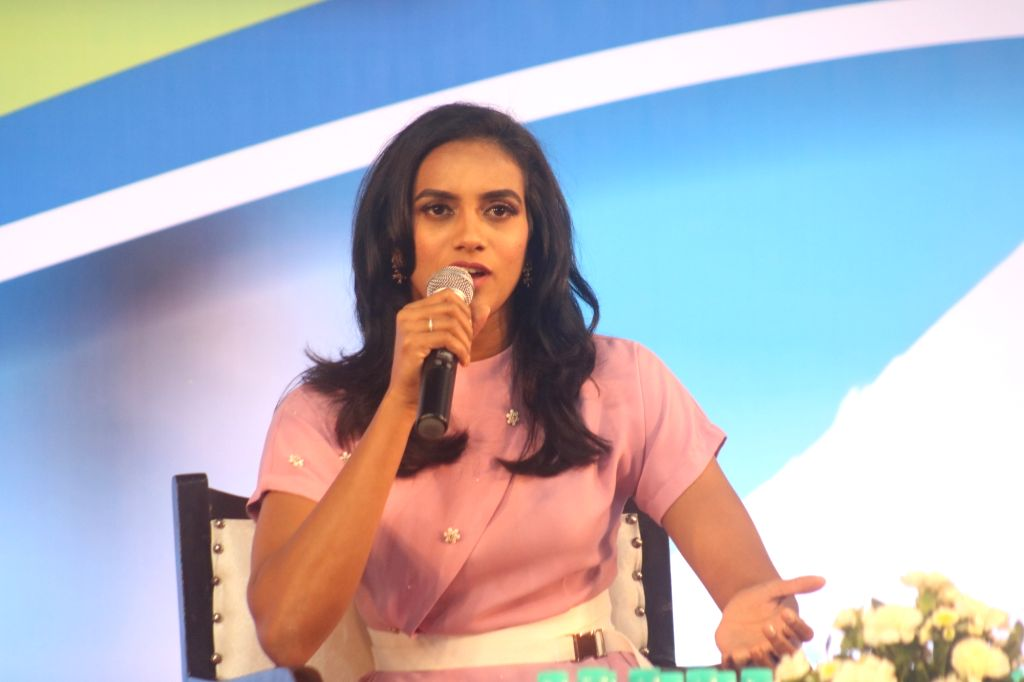 New Delhi: World Badminton champion P. V. Sindhu addresses a press conference during a programme organised to felicitate junior shuttlers of PNB MetLife Junior Badminton Championship 5, in New Delhi on Sep 10, 2019. (Photo: IANS)