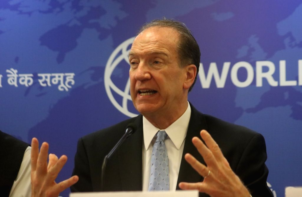 New Delhi: World Bank President David Malpass addresses a press conference in New Delhi on Oct 26, 2019. (Photo: IANS)