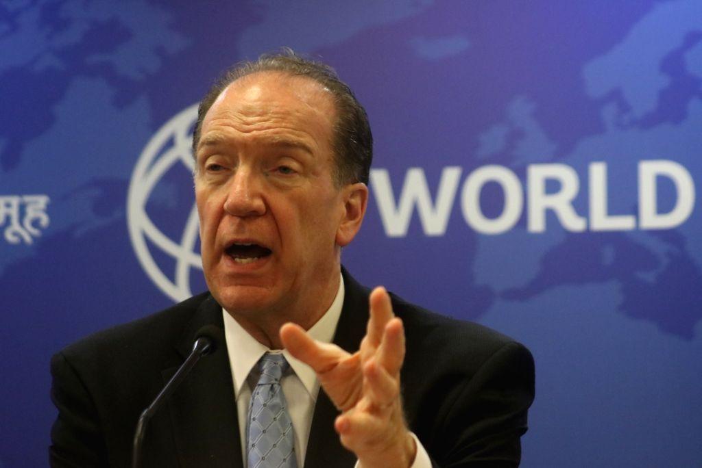 New Delhi: World Bank President David Malpass addresses a press conference in New Delhi on Oct 26, 2019. (Photo: IANS)