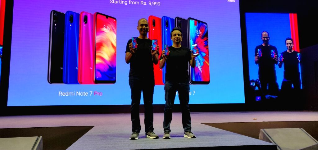 New Delhi: Xiaomi Global Vice President and Xiaomi India Managing Director Manu Jain and Chief Marketing Officer Anuj Sharma at the launch of Xiaomi Redmi Note 7 Pro smartphone in New Delhi, on Feb 28, 2019. (Photo: IANS) - Manu Jain
