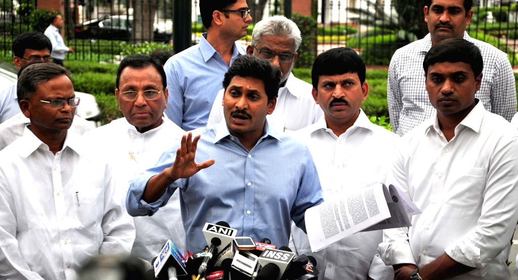 Y S R Congress chief YS Jaganmohan Reddy addresses press after meeting Prime Minister Narendra Modi in New Delhi, on March 30, 2015. - Narendra Modi