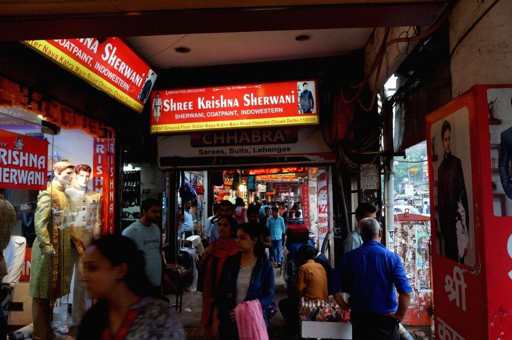 New DelhiNew Delhi: Shops remain open in Chandni Chowk main market against GST in New Delhi, on June 30, 2017.