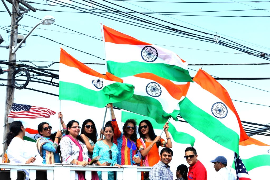 New Jersey: Actress Aarti Chhabria during a parade organised on the occasion of India's 70th IndependenceDay celebration in New Jersey on Aug 15, 2016. - Aarti Chhabria