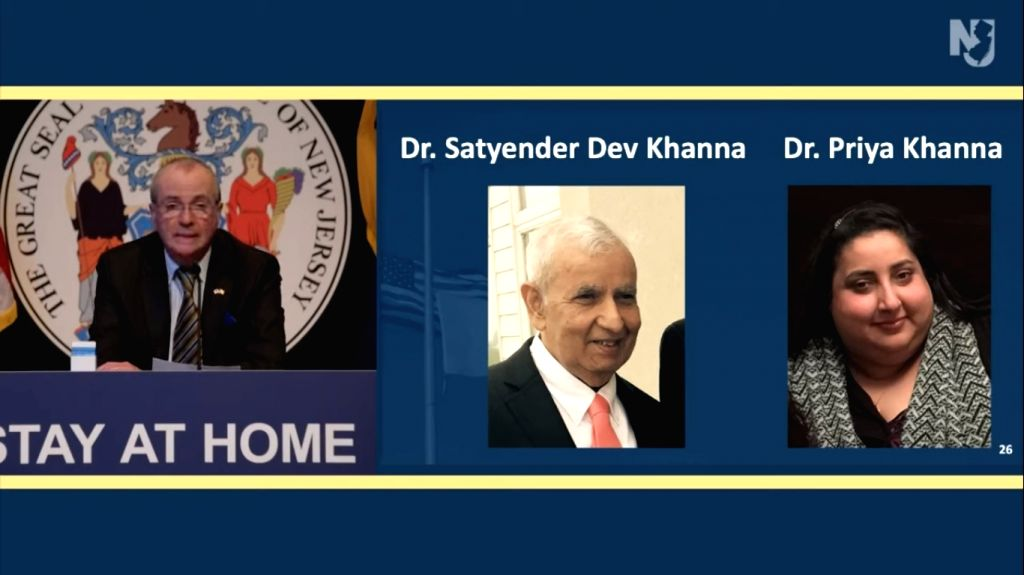 New Jersey Governor Phil Murphy pays tribute to two Indian-origin doctors, Satyendra Dev Khanna and his daughter Priya Khanna, who died from COVID-19 that they caught while caring for patients. - Satyendra Dev Khanna and Priya Khanna
