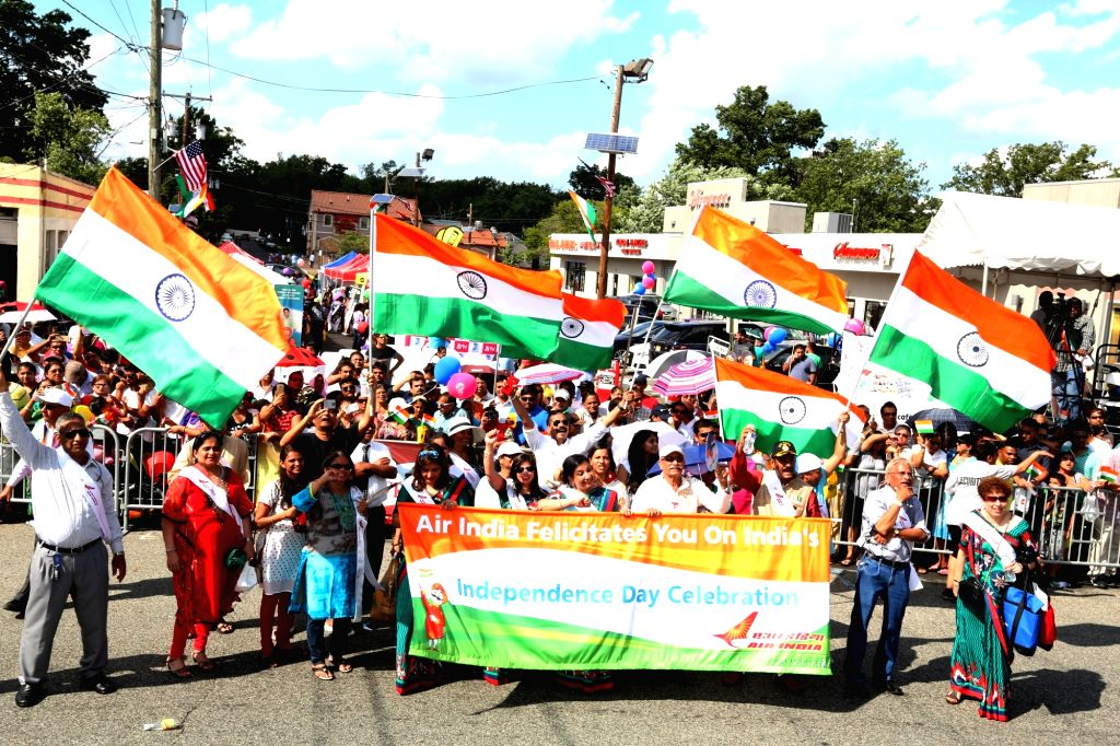 New Jersey: Indian participate during a parade organised on the occasion of India's 70th Independence Daycelebration in New Jersey on Aug 15, 2016.