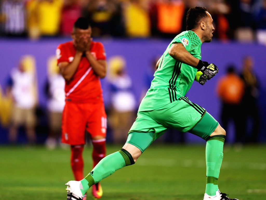 NEW JERSEY, June 18, 2016 - David Ospina, goalie of Colombia celebrates after the shootout in the quarterfinal match against Peru of 2016 Copa America soccer tournament at the Metlife Stadium in New ...