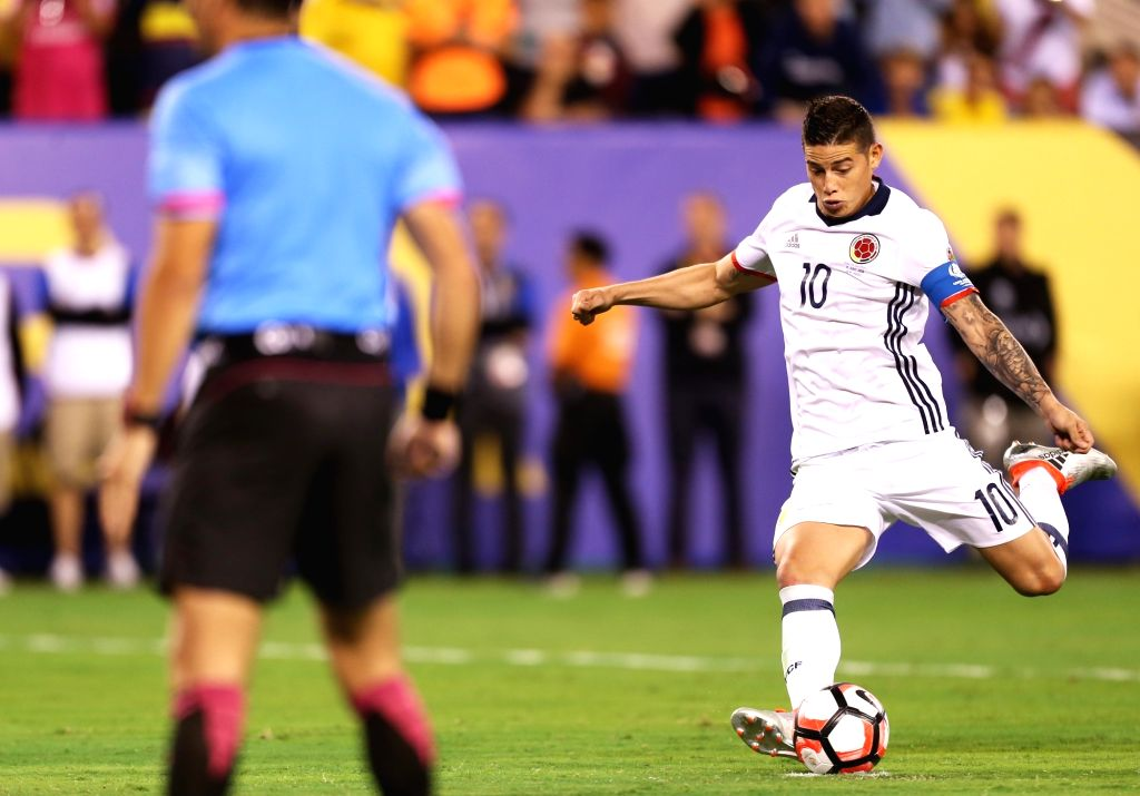 NEW JERSEY, June 18, 2016 - James Rodriguez (R) of Colombia shoots in the penalty shootout during the quarterfinal match between Colombia and Peru of 2016 Copa America soccer tournament at the ...