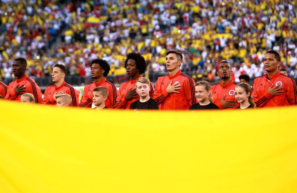 NEW JERSEY, June 18, 2016 - Players of Colombia sing the national anthem before  during their quarterfinal match against Peru of 2016 Copa America soccer tournament at the Metlife Stadium in New ...