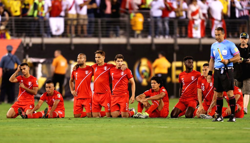 NEW JERSEY, June 18, 2016 - Players of Peru pray during the penalty shootout in their quarterfinal match against Colombia of 2016 Copa America soccer tournament at the Metlife Stadium in New Jersey, ...