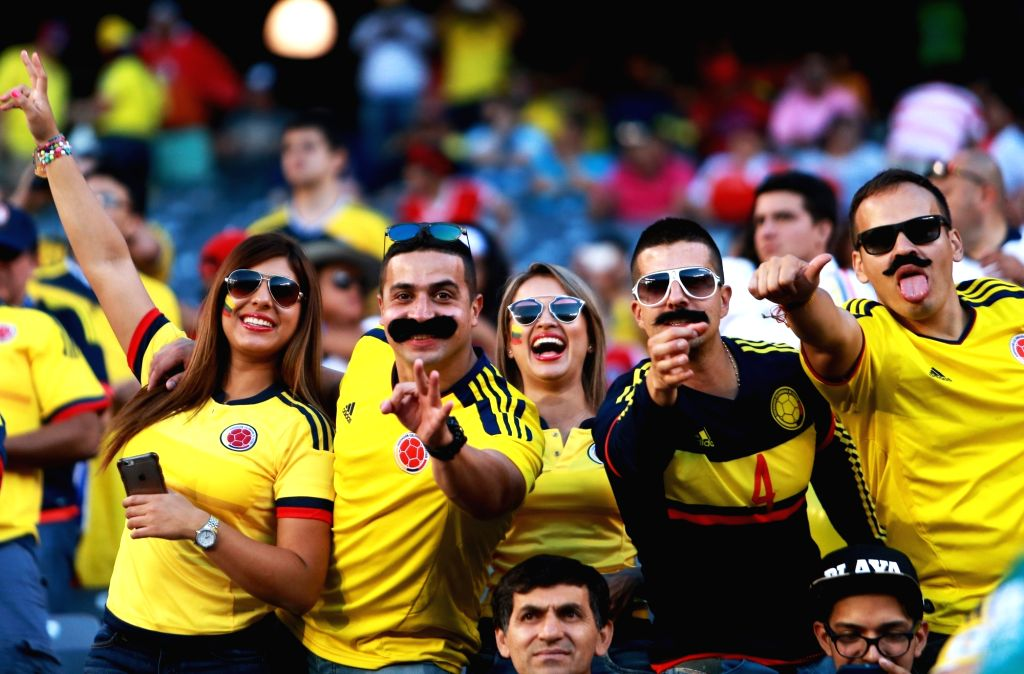 NEW JERSEY, June 18, 2016 - Supporters of Colombia cheer before the quarterfinal match between Colombia and Peru of 2016 Copa America soccer tournament at the Metlife Stadium in New Jersey, the ...