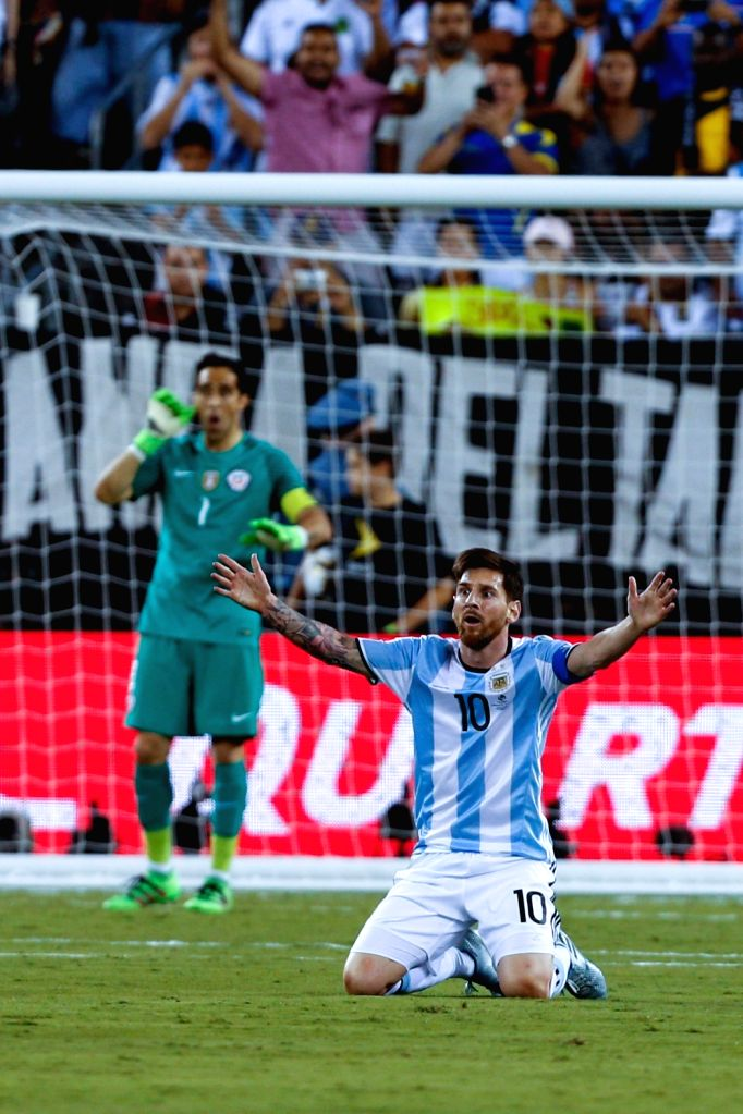 NEW JERSEY, June 27, 2016 - Argentina's Lionel Messi reacts during the final of 2016 Copa America Centenario soccer tournament at the Metlife Stadium in New Jersey, the United States on June 26, ...