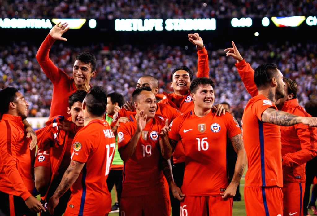 NEW JERSEY, June 27, 2016 - Players of Chile celebrate after winning the final of 2016 Copa America Centenario soccer tournament at the Metlife Stadium in New Jersey, the United States on June 26, ...