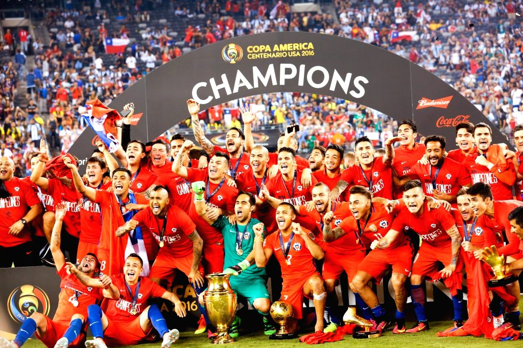 NEW JERSEY, June 27, 2016 - Players of Chile celebrate with the trophy after winning the final of 2016 Copa America Centenario soccer tournament at the Metlife Stadium in New Jersey, the United ...