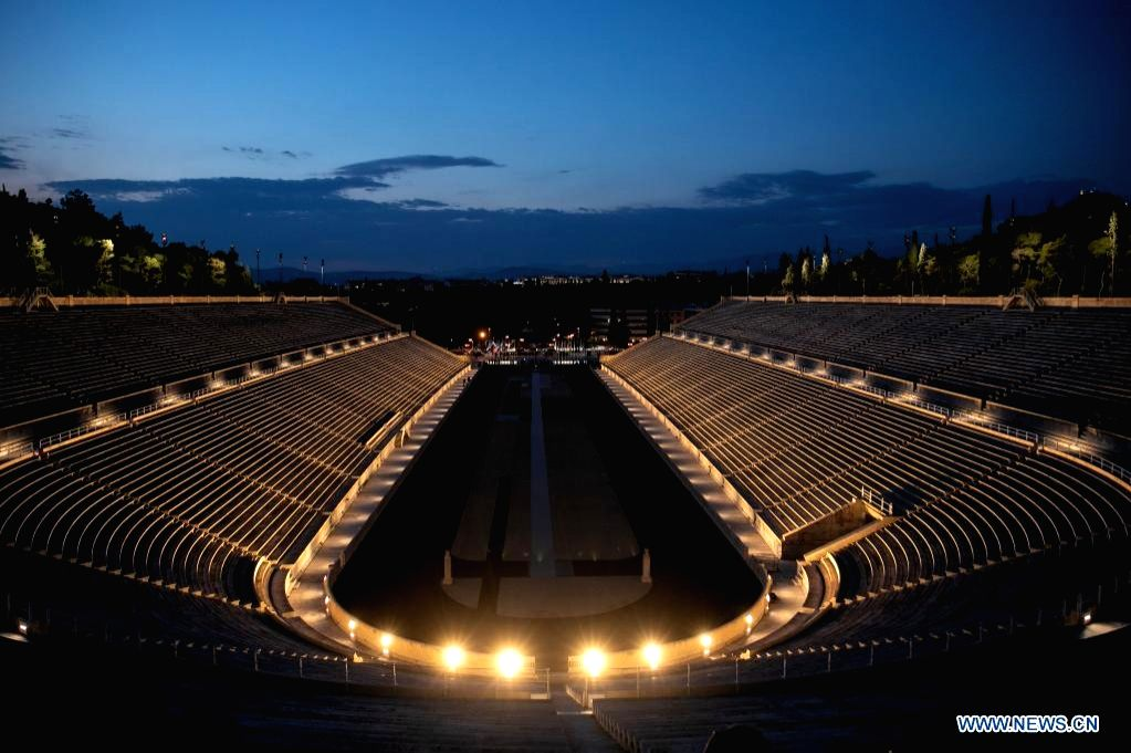 New lighting system of Athens' Panathenaic stadium unveiled.(Credit: Xinhua)