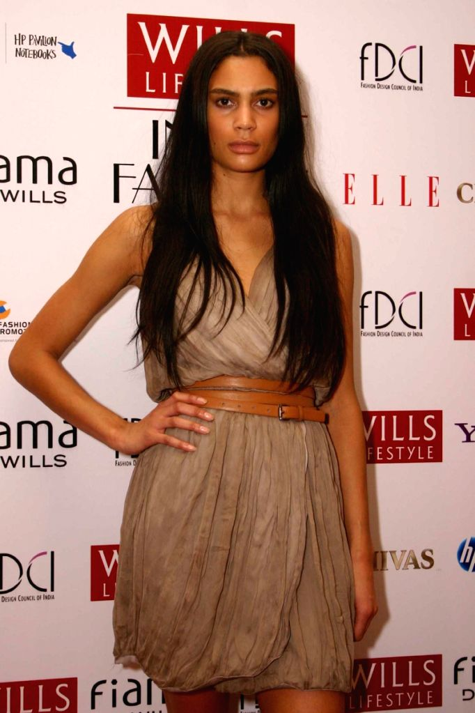 """New model for """"Wills Life Style India Fashion Week-2009"""" during a press meet in New Delhi on Saturday."""