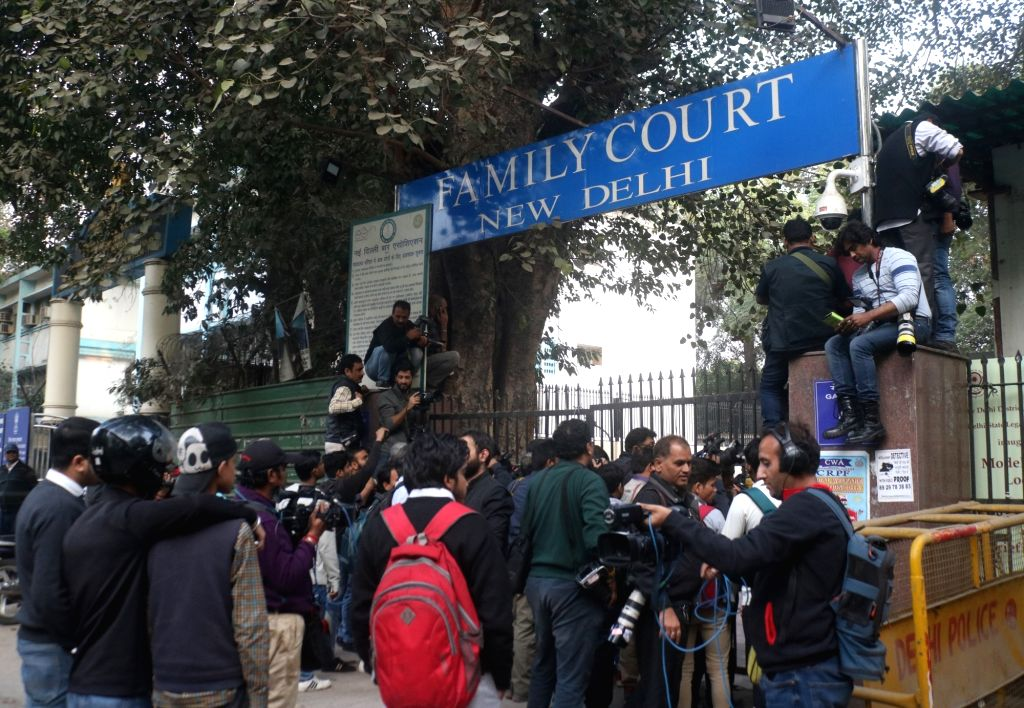 New New Delhi: Media personnel wait outside the Patiala House Court where British national Christian Michel James, a middleman wanted in the Rs 3,600-crore AgustaWestland VVIP chopper deal case, will ...