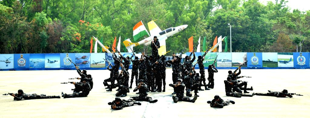 New recruits of Software Development Institute demonstrate their skills during their passing out parade  at Air Force Station in Bengaluru on April 21, 2017. 953 airmen trainees ...