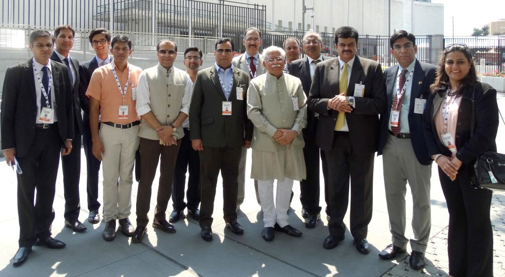 New York: A delegation led by the Haryana Chief Minister Manohar Lal Khattar at the United Nations Headquarters in New York, on Aug 18, 2015.