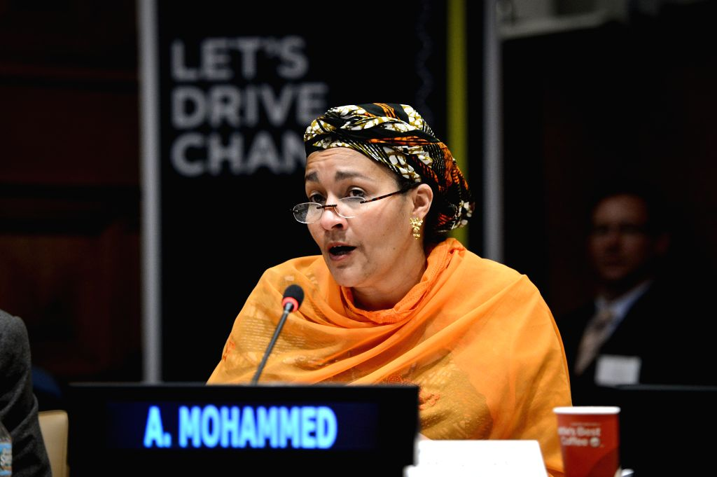 New York: Amina J. Mohammed, UN secretary-general's special advisor on the Post-2015 Development Planning, speaks during a panel discussion marking the launch of Together for Safer Roads, a private ..