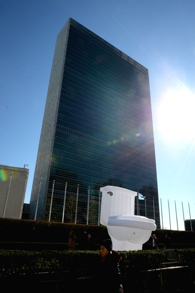 New York: An inflatable toilet set up by the UN is on display in front of the UN headquarters in New York, on Nov. 19, 2014, to mark the World Toilet Day. With one out of three women worldwide ...