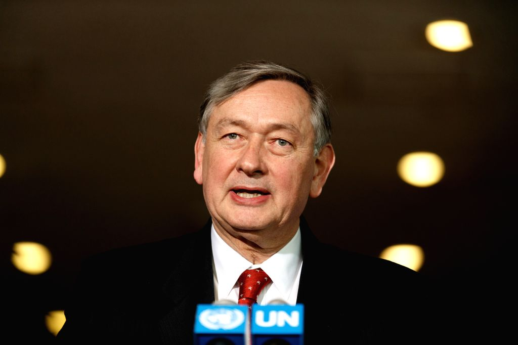NEW YORK, April 13, 2016 - Danilo Turk, former president of Slovenia, candidate for the position of the next secretary-general, addresses the press at the United Nations headquarters in New York, ...