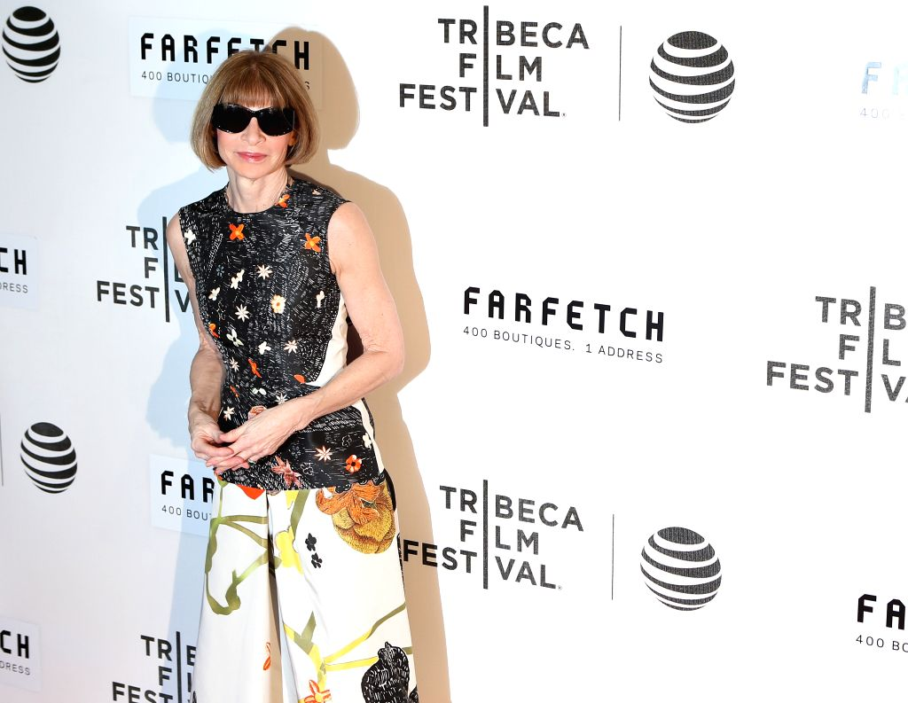 NEW YORK, April 14, 2016 - Editor-in-chief of American Vogue Anna Wintour poses on the red carpet for the opening night of 2016 Tribeca Film Festival in New York, the United States on April 13, 2016. ...