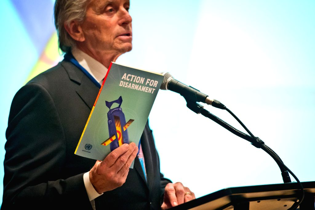 "United Nations Messenger of Peace Michael Douglas speaks during the launch of a book entitled ""Action for Disarmament: 10 Things You Can Do!"", at the UN"